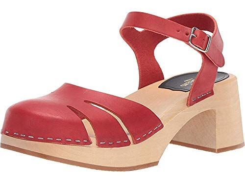 swedish hasbeens Women's Baskemslla Ankle Strap Clogs, Red, 39 M EU