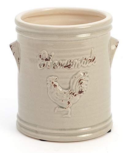 Pale Blue and Cream Rooster Utensil Holder or Canister with Lid for Farmhouse Kitchen Decor (Utensil Crock)