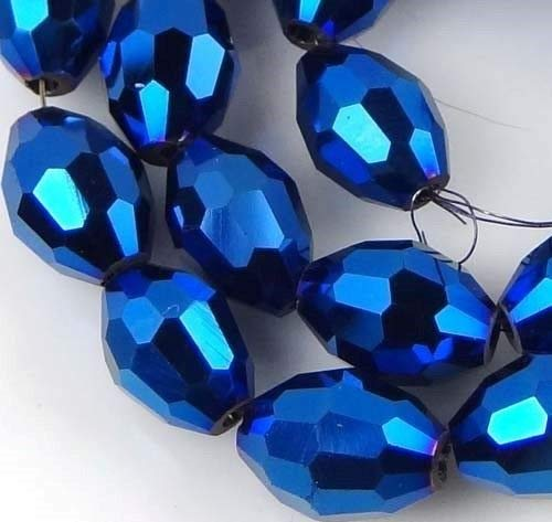 (8x6mm Glass Quartz Firepolish Faceted Barrel Beads - Metallic Iris Blue (24))