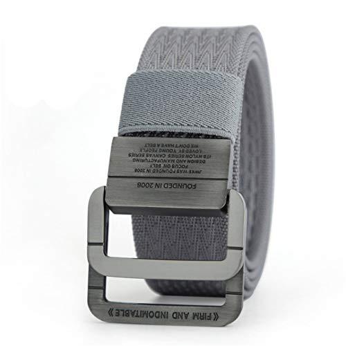 JUIHUGN Military Equipment Tactical Belt Man Double Ring Buckle Thicken Canvas Belts for Men Waistb Gray 135cm