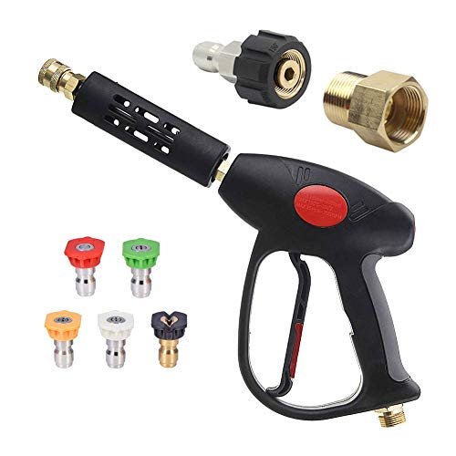 Yatuela Short Pressure Washer Gun Set, M22 14mm Swivel to 15mm Coupler & 3/8'' Quick Plug with 5 Connect Nozzles for Honda Excell Troybilt, Generac, Simpson, Briggs Stratton Pressure Washers, 4000 PSI