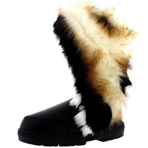Holly Womens Tall Tassel Winter Cold Weather Snow Rain Boots Black Leather 1taDBWQlJ