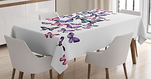 Ambesonne Butterflies Tablecloth, Various Different Butterflies with Wings Feminine Companionship Fun, Dining Room Kitchen Rectangular Table Cover, 60