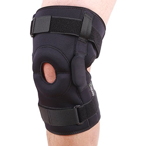 Dual Hinged Knee Brace Open Stabilized Patella Adjustable Support for Sports Trauma, Sprains, Arthritis, ACL, Meniscus Tears, Ligament Injuries by DISUPPO (4XL-5XL(18.3-20.9