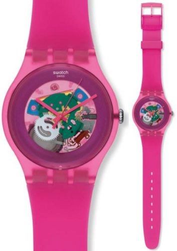 Swatch SUOP100 pink lacquered pink dial pink plastic strap unisex watch NEW