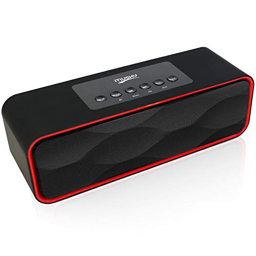 Portable Wireless Bluetooth Stereo Speaker with Powerful Sound 10W Acoustic Drivers Built-in Mic FM Radio Micro SD Card USB AUX-in Slot for Smartphone, PC, MP3 and More