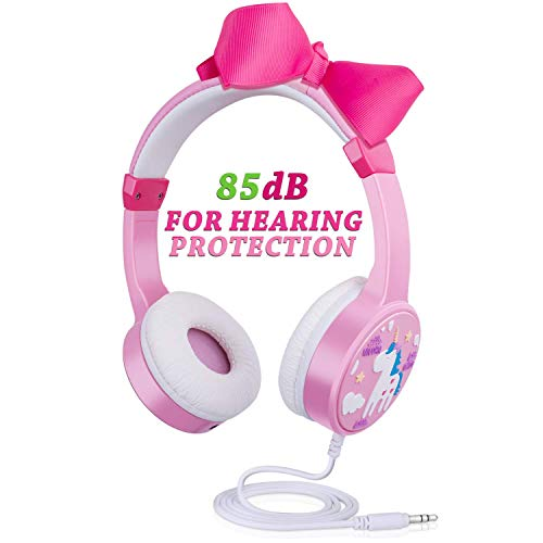 Kids Wired Headphones, 85dB Volume Limited Adjustable Over Ear Headsets for Toddler with Shareport Hearing Protection for 2~10 Girls Teens with Cellphone ipad Tablet-Pink ()