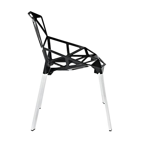 Modway Connections Dining Chair Set of 2 in Black - CONTEMPORARY STYLE - With it's networked array of welded aluminum rods, the design results in a fantastic geometric array that conveys both energy and excitement. INDOOR/OUTDOOR USE - Popularly used around the dining table, outdoor patio or backyard events, Connections enhances the dining experience both inside and out. LASTING CONSTRUCTION - Connections is supported by tubular chrome legs, with black plastic foot caps. - patio-furniture, patio-chairs, patio - 41a8GljoWuL. SS570  -