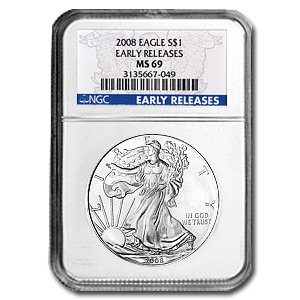 2008 Silver American Eagle (NGC MS-69) Early Release Blue Label