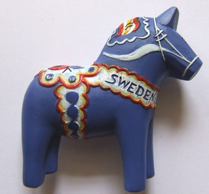 (Souvenir Blue Swedish Dala Horse Sweden High Quality Resin Fridge 3d Magnet)