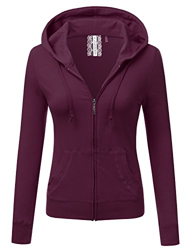 JJ Perfection Women's Slim Fit Lightweight Jersey Full Zip Hoodie Jacket Plum L (Zip Plum Jacket Front)