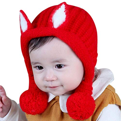 (Brilliant sun Toddler Infant Baby Cotton Knit Kids Hat Cute Earflap Winter Skull Cap)