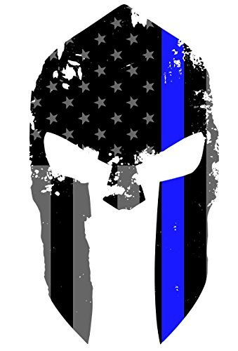 K9King Tattered Spartan Helmet US Flag Subdued Molon Labe Reflective Decal with Thin Blue Line ()