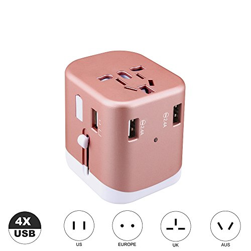 comboss Portable Universal Travel Adapter All in One Worldwide International Wall Charger AC Plug Adapter with 4 USB 2.4A Port (Rose Gold)
