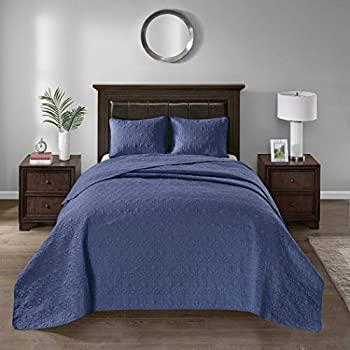Image of 3 Piece Oversized Blue Navy King Bedspread to the Floor Set, 120 Inches X 118 Inches, Bedding Drops Over Edge of King Beds, Polyester, Stylish Classic Stitched, Large Extra Long Wide Bedding Home and Kitchen