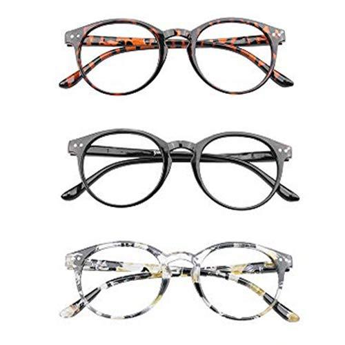 KoKoBin Retro Round Reading Glasses for Men Women Spring Hinged Readers Anti-Radiation Blue Light Blocking Anti-Fatigue Thin Reader Glasses Plastic Frame 2.50 Strength ... (Best Anti Radiation Glasses)