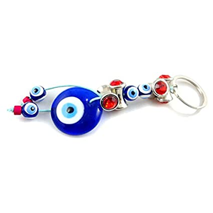Jzone - Llavero de ojo turco clásico, cristal azul de la ...