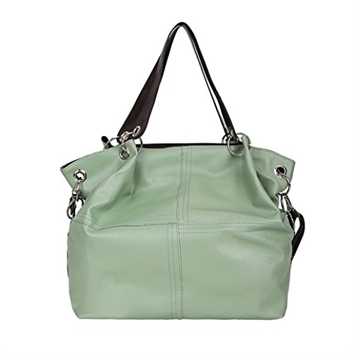 Women's Leather Shoulder Bags Splice Corssbody Bag Handbag Fashion Vintage Tassel Big Capacity Tote Shoulder Bags (One_Size, Green) (Handbag Gucci Shoulder Fashion)
