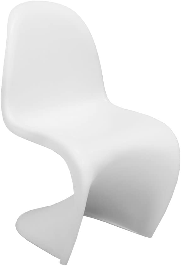Ergo Furnishings Mid-Century Molded Plastic S Chair Dining Chair Office Chair, White