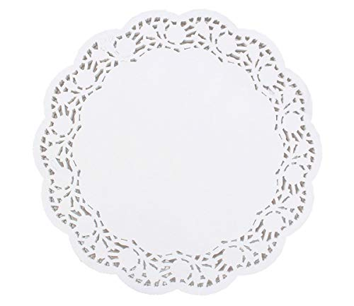 100 Pcs Round Lace Paper Doilies 14 Inch White Decorative Party, Cakes, Desserts, Baked Treat Display, Ideal for Weddings Disposable Doilies Tableware Decoration