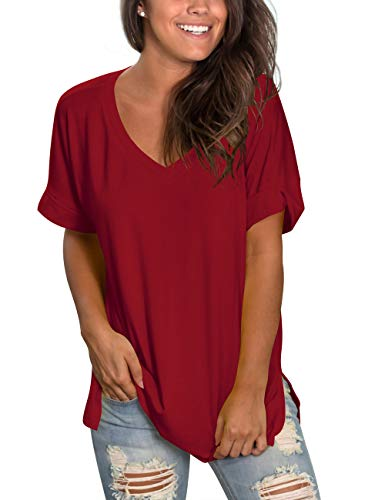 - liher Women's Short Sleeve V-Neck Shirts Loose Casual Tee Shirt Tops