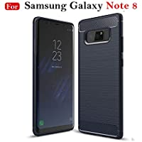 "MOBISTYLE Shock Proof""Carbon Fibre Brushed Texture"" Armour Series Back Case Cover for Samsung Note 8 (Blue)"