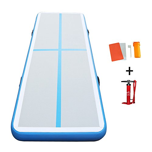 Darget Gymnastic 3m Inflatable Air Track Tumbling Floor Mat with Pump(SkyBlue Air Floor:3m /9.8'x 1m /39″ x10cm /4″)