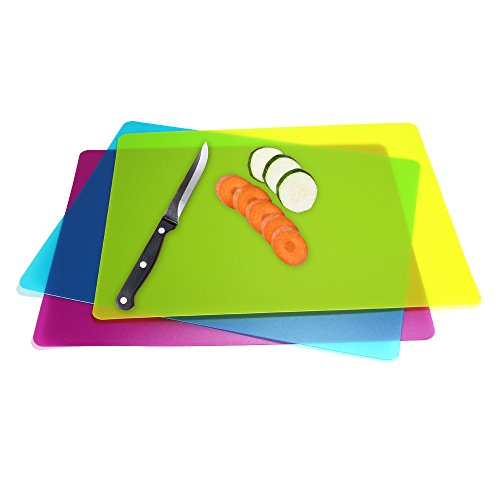 Flexible Plastic Cutting Board Mats set, Colorful Kitchen Cutting Board Set of 3 Colored Mats -