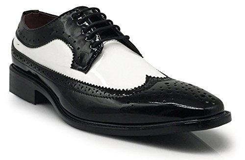 Mens Black White Dress Shoes - 7