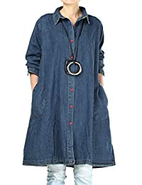 Mordenmiss Women's Plus Size Jacket Button-Down Denim Shirt Blouse with Pockets