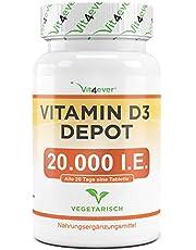 Vit4ever® Vitamin D3 20.000 I.E. Depot 240 Tabletten - Hochdosiert - Vergleichssieger 2019* - Laborgeprüft - Vegetarisch - 20 Tagesdosis 1000 I.E. pro Tag - Vitamin D - Premium Qualität