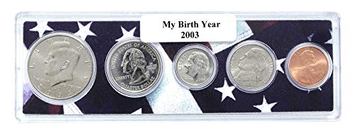 2003-5 Coin Birth Year Set in American Flag Holder - Coin Birthday Set