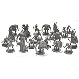 DND Minis 25 Fantasy Miniatures for Tabletop/Dungeons and Dragons Roleplaying Games - Bulk Minis Unpainted- Enemies and Monster Figures Starter Set - Compatible with D