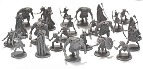 Drunkn Dragon 25 Fantasy Miniatures for Tabletop/Dungeons and Dragons Roleplaying Games - Bulk Minis Unpainted- Enemies and Monster Figures Starter Set - Compatible with DND D
