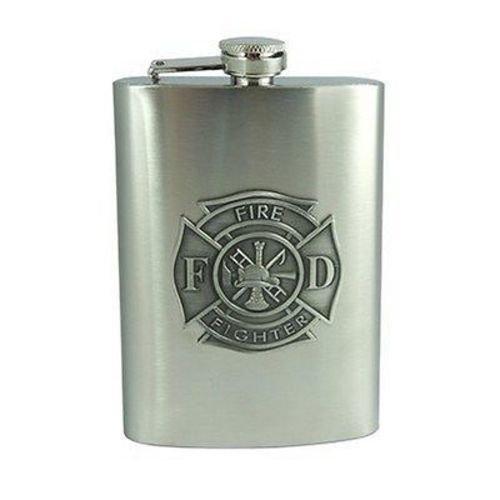 Firefighter Stainless Steel 8oz Hip Flask NEW Motorcycle Biker Liquor HIP-0004
