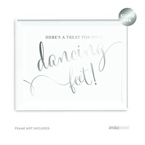 (Andaz Press Wedding Party Signs, Metallic Silver Ink, 8.5x11-inch, Here's a Treat for Your Dancing Feet! Flip Flop Sandals High Heels Shoes Dance Floor Reception Sign, 1-Pack)