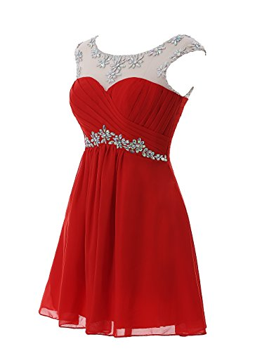 Gowns Short Chiffon Women's Kiss Beaded Dresses Homecoming Party Red Dress Cocktail 5YaxSwqz