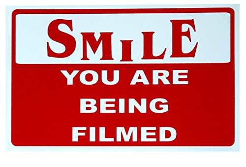 1-Pc Paradisiac Popular Smile You Are Being Filmed Sign 24Hr Watched Camera Safety Video Surveillance Size 7