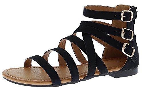 Cambridge Select Women's Open Toe Crisscross Strappy Buckled Ankle Back Zip Flat Sandal,8.5 B(M) US,Black Pu