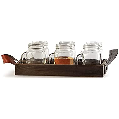 Circleware Country Mini Mason Jar Mug Clear Glass Shot Glass Set, Glass Handles and Wooden Tray, 5 Ounce, 7 Pc Glassware Drinkware Barware Set
