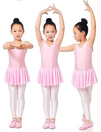 3bd9ea3a9815 UK Seller Girls Fairy Dress Party Lycra Spandex Ballet Dance Leotard W/Skirt  Strips 90-150cm (Tag 3XL=115-125 cm, Pink): Amazon.co.uk: Clothing