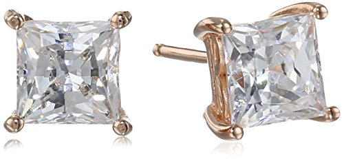 Rose Gold Plated Sterling Silver Stud Earrings set with Princess Brilliant Cut Swarovski Zirconia (2 cttw)