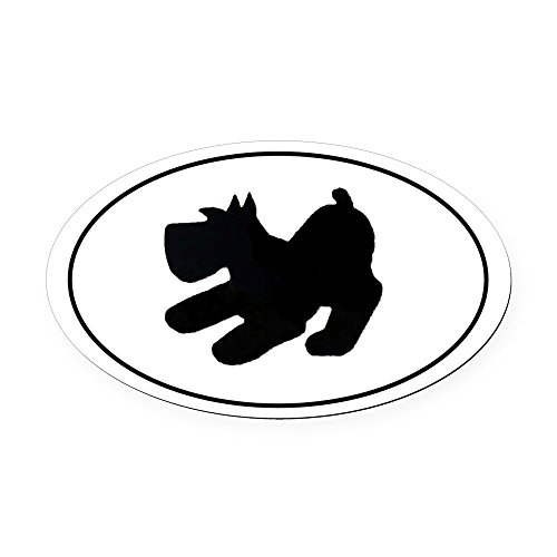 - CafePress - Schnauzer Pup Playing - - Oval Car Magnet, Euro Oval Magnetic Bumper Sticker