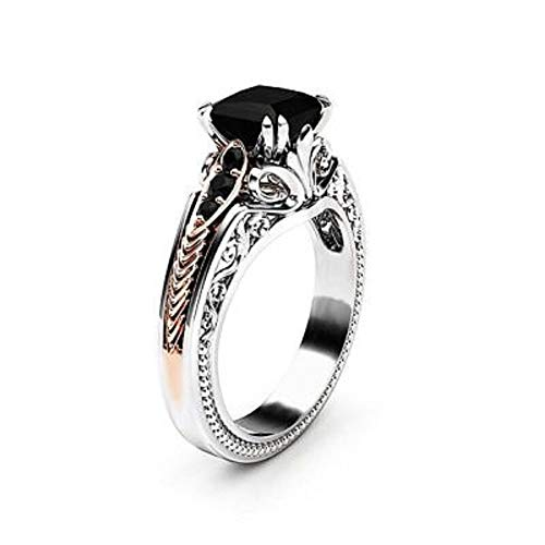 ELFTUNE Sterling Silver Plated Cubic Zirconia Cluster Black Square Engagement Round Ring Valentine Day Birthday Gift Fashion ()