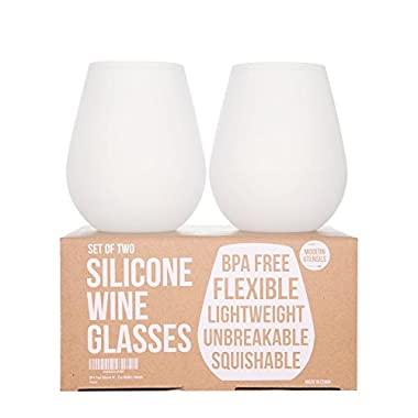 Silicone Wine Glasses: 14oz, Set of 2 - The Unbreakable Glass. No More Worries About Broken Glass!