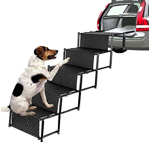 Indoor Ramp Dog Step Pet - Pet Dog Car Step Stairs, Accordion Folding Pet Ramp for Indoor Outdoor Use, Lightweight Portable Auto Large Dog Ladder, Great for Cars, Trucks and SUVs Cargo, Sailboat, Couch and High Bed, 5 Steps