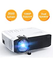 Proiettore APEMAN 3500 Lumen Mini Portatile Videoproiettore con Doppio Speaker Durata del LED fino a 50000 Ore di Cinema Domestico Compatibile con 1080P HDMI USB VGA SD Supporto Android IOS TV Box