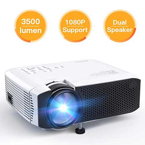 Projector APEMAN Video Mini Portable Projector 3500 Lumen with Dual Built-in Speakers 45000 Hours LED Life Support HD 1080P HDMI/VGA/TF/AV/USB/TV Box/PS4/Smartphone for Home Theater Entertainment