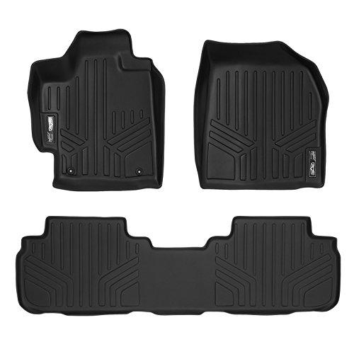 (SMARTLINER Floor Mats 2 Row Liner Set Black for 2008-2013 Toyota Highlander Non Hybrid)