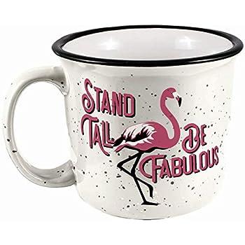 Spoontiques 21526 Flamingo Camper Mug 14 ounces White